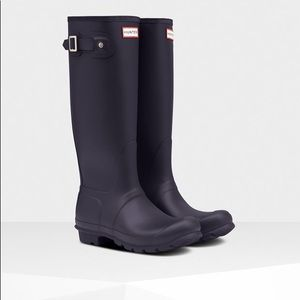 New Hunter women's original Tall Aubergine boots 7